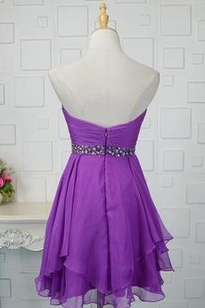 Juwel akzentuiertes Mieder Chiffon Natürliche Taille Abendkleid