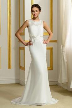 Ärmellos Romantisch Natürliche Taille Appliques Mantel Brautkleid
