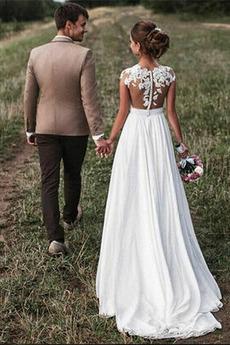 Appliques Fegen zug umgekehrte Dreieck Breit flach Einfache Brautkleid