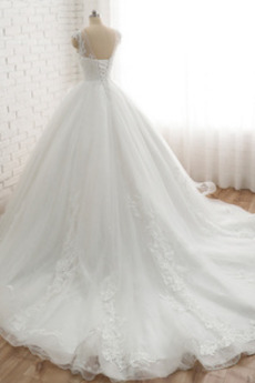 Trichter V-Ausschnitt Formalen Natürliche Taille Hochzeitskleid
