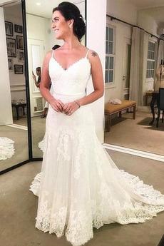 V-Ausschnitt Draussen Spitzenüberlagerung Sommer Hochzeitskleid