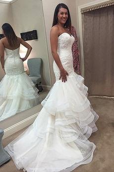 Strand Appliques Lange Frenal Frühling Natürliche Taille Hochzeitskleid