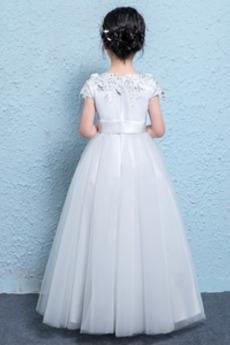 Natürliche Taille A Linie Karte Akzentuierte Rosette Blumenmädchen kleid