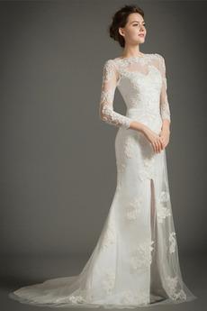 Natürliche Taille Spitze Meerjungfrau Appliques Winter Brautkleid