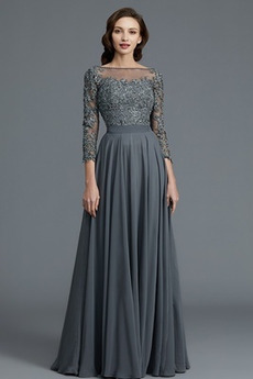 Spitze Bateau Rückenfrei Hochzeit Elegante Mutter der Braut Kleid