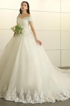 Natürliche Taille Halle Mit geschlossenen Ärmeln Brautkleid mit kurzen Ärmeln