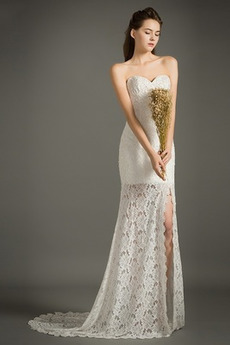 Fegen zug Spitze Romantisch Mantel Vorderer Schlitz Brautkleid