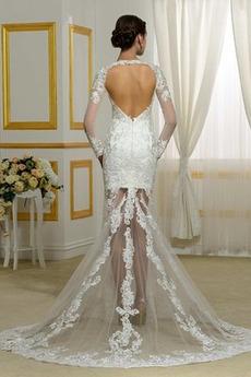 Fallen Dreieckfalte Fegen zug Königin anne Illusionshülsen Hochzeitskleid