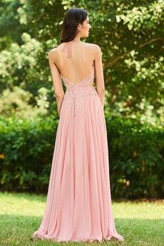 Natürliche Taille Juwel A Linie Chiffon Lange Brautjungfer kleid