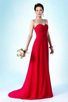 Natürliche Taille Schatz Drapiert Lange Schön Brautjungfer Kleid