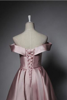 Hochzeit Natürliche Taille Schnüren Satiniert Trauzeugin kleid