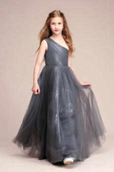 Frenal Natürliche Taille Eine Schulter Tüll Kleine Mädchen Kleid