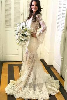 Meerjungfrau Halle Lange Illusionshülsen Schlüsselloch zurück Brautkleid