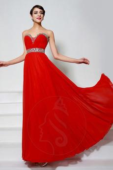 Sommer Perlengürtel A Linie Natürliche Taille Drapiert Abendkleid
