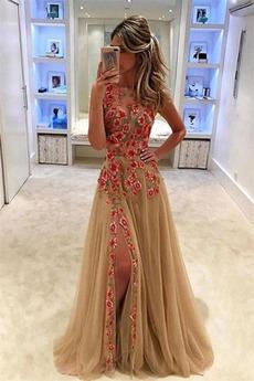 Natürliche Taille Bateau Romantisch Ärmellos A Linie Abendkleid