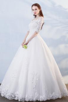 T Hemd Frühling Natürliche Taille Appliques Strand Brautkleid