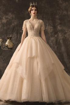 Jahrgang umgekehrte Dreieck Natürliche Taille Hochzeitskleid