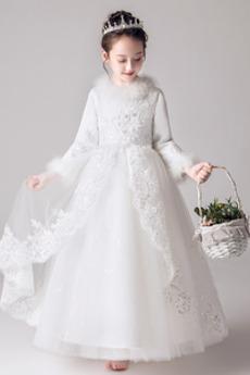 Appliques Spitze Knöchellänge Lange Ärmel Blumenmädchen kleid