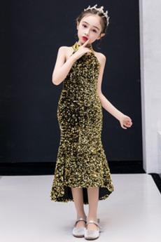 Asymmetrisch Hoch niedrig Sequiniert Sommer Blumenmädchen kleid