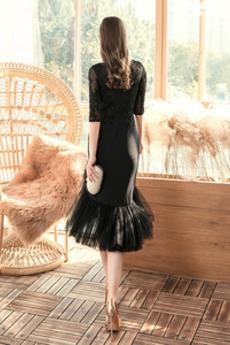 Tüll Abperleffekt Elegante Spitzenüberlagerung Natürliche Taille Abendkleid