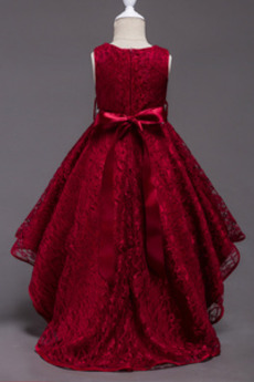 Asymmetrisch Klassisch Akzentuierter Bogen Rote Blumenmädchenkleid