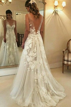 Appliques V-Ausschnitt Frenal Ärmellos Natürliche Taille Hochzeitskleid