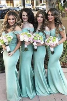 Bankett Mit geschlossenen Ärmeln Satiniert Brautjungfernkleid