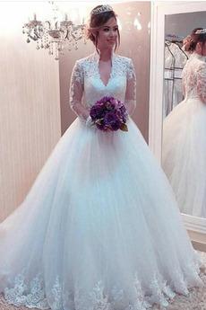 Königin anne Bodenlänge Draussen Natürliche Taille Brautkleid