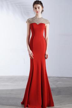 Meerjungfrau Natürliche Taille Juwel akzentuiertes Mieder Abendkleid