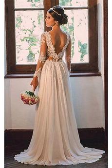 Spitze Durchschauen Frühling Frenal Lange Ärmel Natürliche Taille Brautkleid
