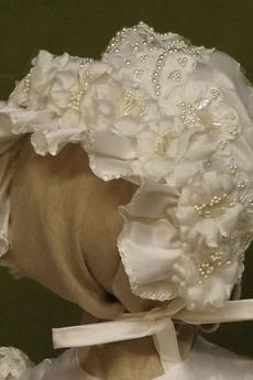 Kappe Juwel Kurze Ärmel Lange Prinzessin Blumenmädchen kleid