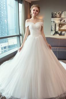 Schnüren Mit geschlossenen Ärmeln Königlicher Zug Einfache Brautkleid