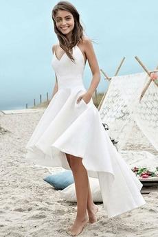 Hoch niedrig Birne Ärmellos Reißverschluss Asymmetrische Brautkleid
