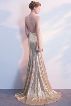 Natürliche Taille Invertiertes Dreieck Bodenlänge Pailletten kleid