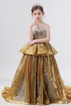 Ärmellos Drapiert Tüll Reißverschluss Formalen Blumenmädchen kleid