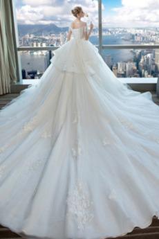 A Linie Kirche T Hemd Spitzenüberlagerung Brautkleid mit kurzen Ärmeln
