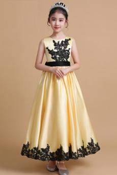 Juwel Trichter Elegante Appliques Sommer Blumenmädchen kleid