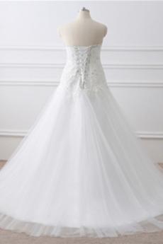 Frühling A Linie Übergröße Jahrgang Kirche Bördeln Tüll Brautkleid