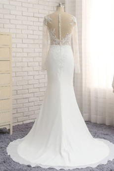 Schaltfläche Chiffon Draussen Sommer Scoop Einfache Brautkleid