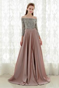 Fegen zug Elastischer Satin Reißverschluss Bördeln Abendkleid