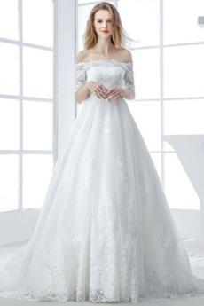 Kurze Ärmel Schnüren Spitze Mit geschlossenen Ärmeln Brautkleid