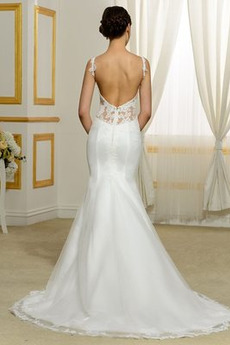 Fallen Glamourös Reißverschluss Fiel Taille Satin Brautkleid