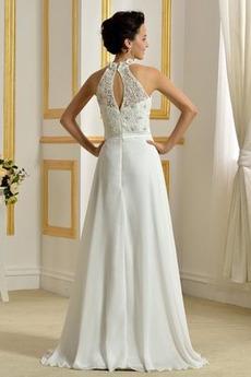 Hoher Hals Natürliche Taille Klassisch Ärmellos Hochzeitskleid