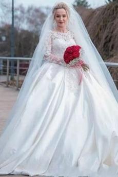 Breit flach Natürliche Taille Anzug Strand Spitze Brautkleid