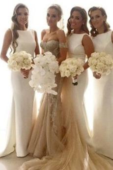 Ärmellos Formalen Bankett Lehnenlose Lange Brautjungfer kleid