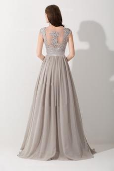 Natürliche Taille Hochzeit v-Hals Gerafft Bodenlänge Abendkleid