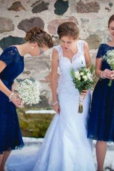 Knie-Länge Reißverschluss T Hemd Drapiert Brautjungfernkleid