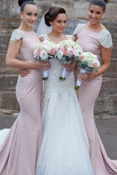Abperleffekt Breit flach Mit geschlossenen Ärmeln Brautjungfernkleid