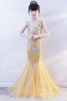 Breite Riemen Meerjungfrau Fiel Taille Reißverschluss Kleine Mädchen Kleid