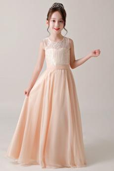 Spitze Formalen Ärmellos Sommer Leistung Blumenmädchen kleid
